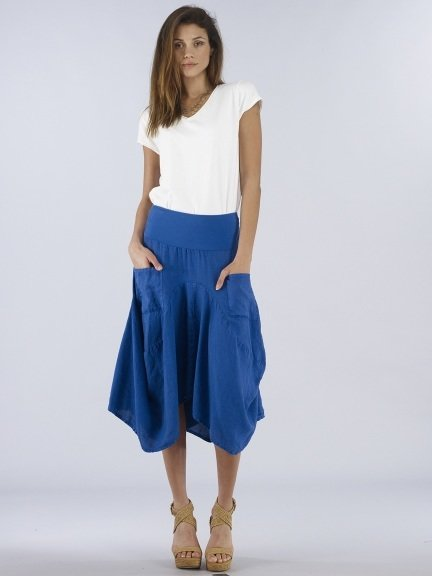 Luna Luz: Swivel Hemline Linen Midi Pocket Skirt (Many Colors, Ships Immed!)