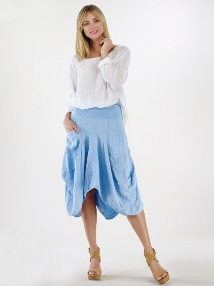 Luna Luz: Swivel Hemline Linen Midi Pocket Skirt (Many Colors, Ships Immed!) LL_734_N