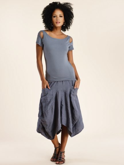 Luna Luz: Swivel Hemline Linen Midi Pocket Skirt (Ships Immed, Few Left!)