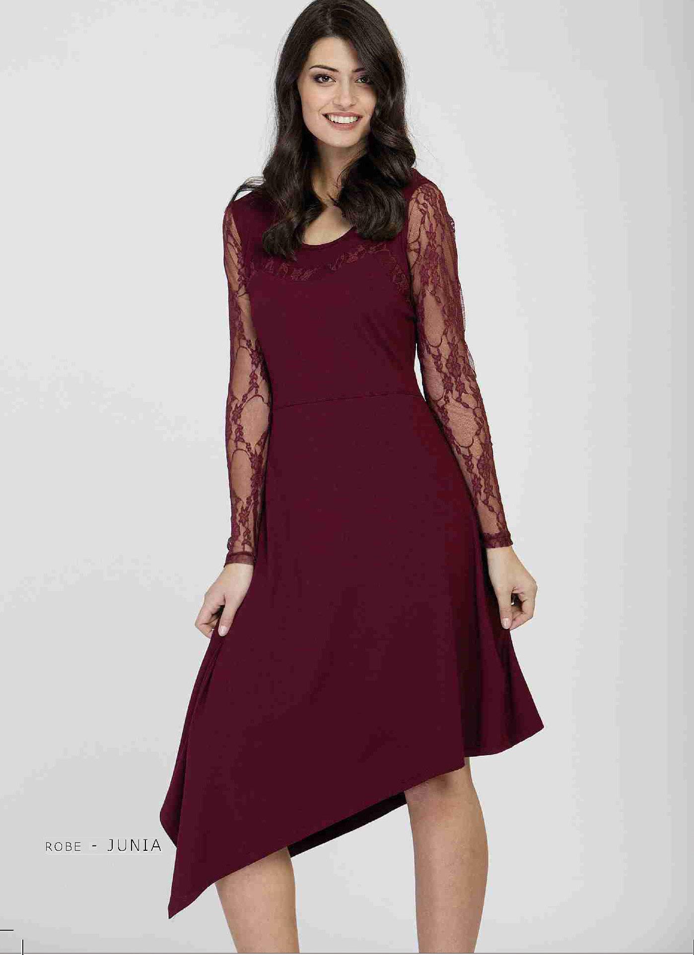 Maloka: Asymmetrical Cherry Lace Dress (Only Wine, Black & Titanium Left!) MK_JUNIA_N2