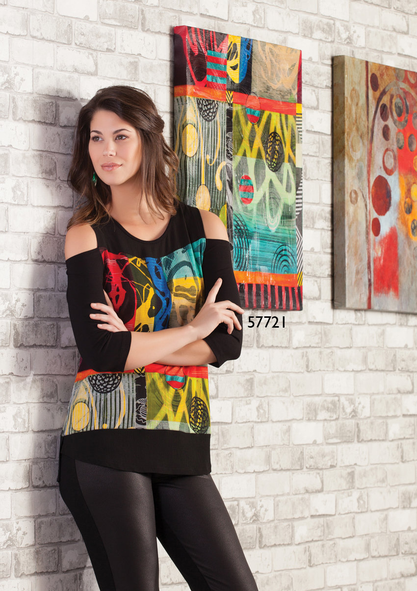 Simply Art Dolcezza: Celestial Bodies Abstract Cold Shoulder Tunic (1 Left!) DOLCEZZA_SIMPLY_ART_57721_N2