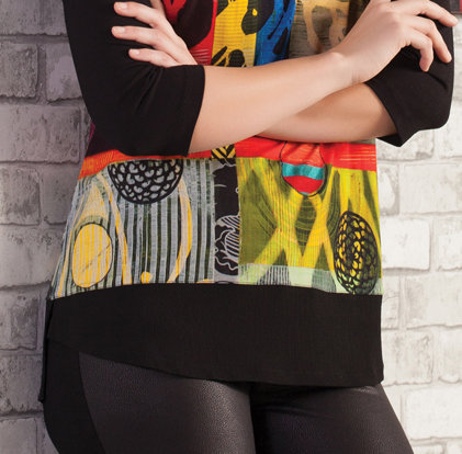 Simply Art Dolcezza: Celestial Bodies Abstract Cold Shoulder Tunic (1 Left!)