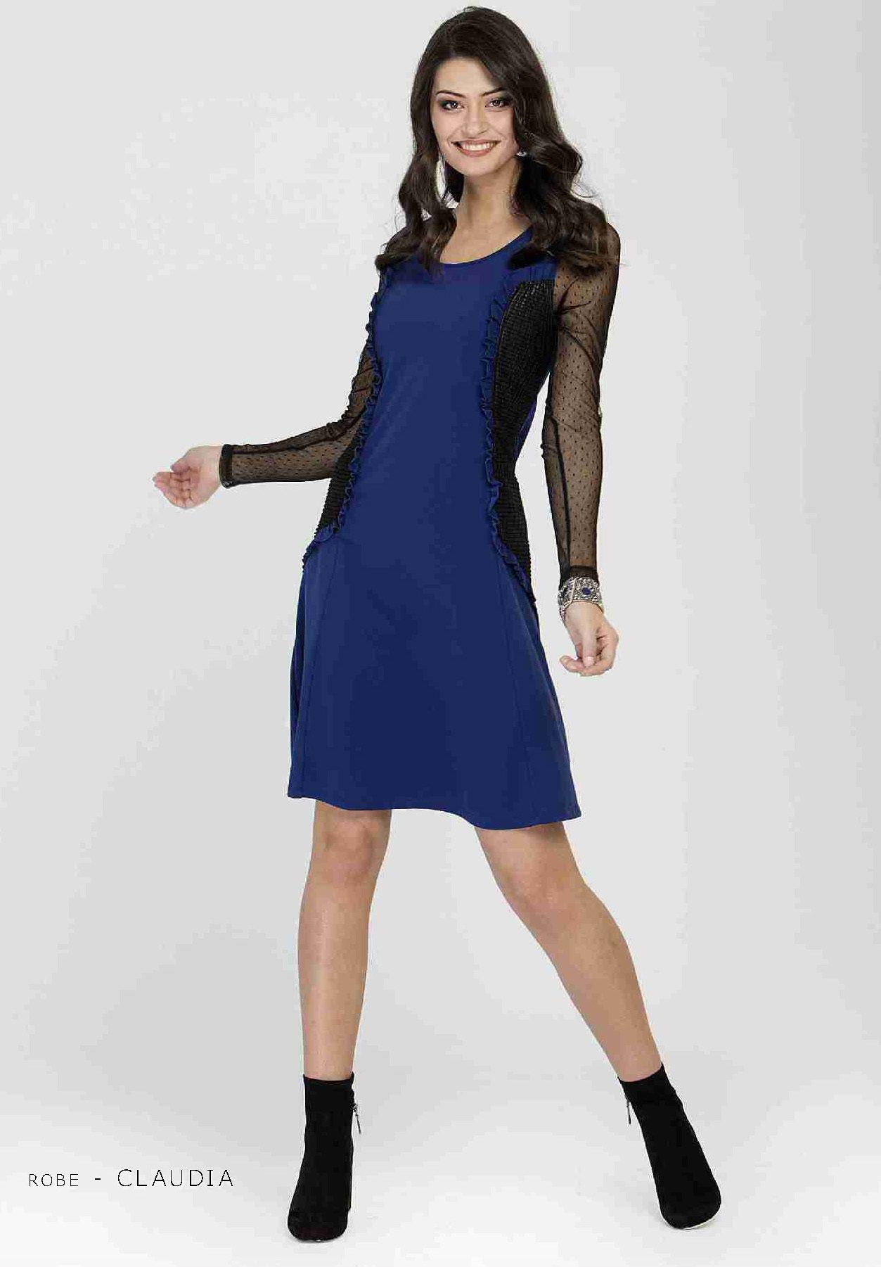 Maloka: Side Ruffled & Laced Midi Nylon Dress (1 Left!) MK_CLAUDIA_N1