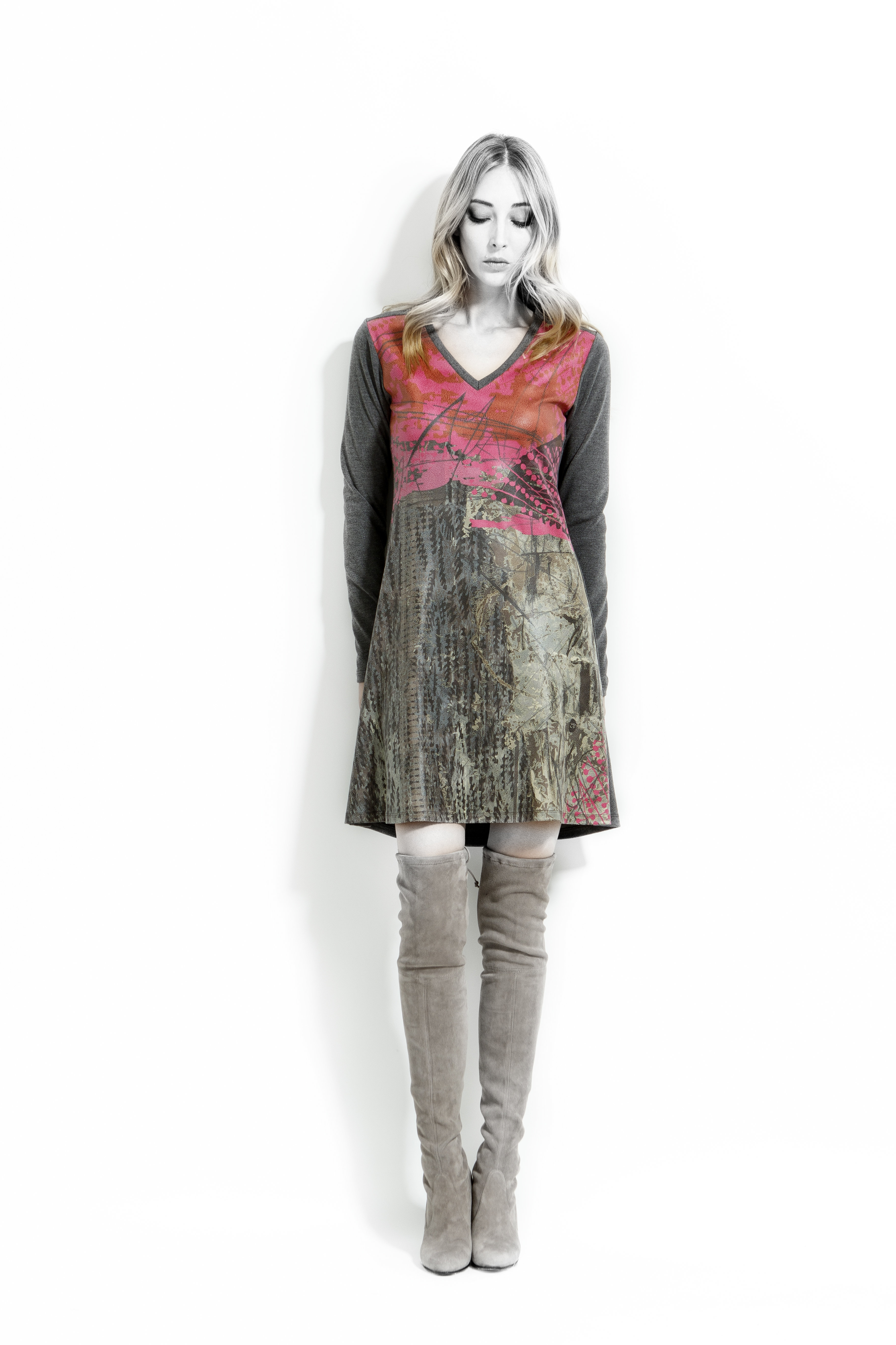 Volt Design: Pink Forest Abstract Art A-line Dress  (Some Ship Immed!) VD_362_RPB_C_N2