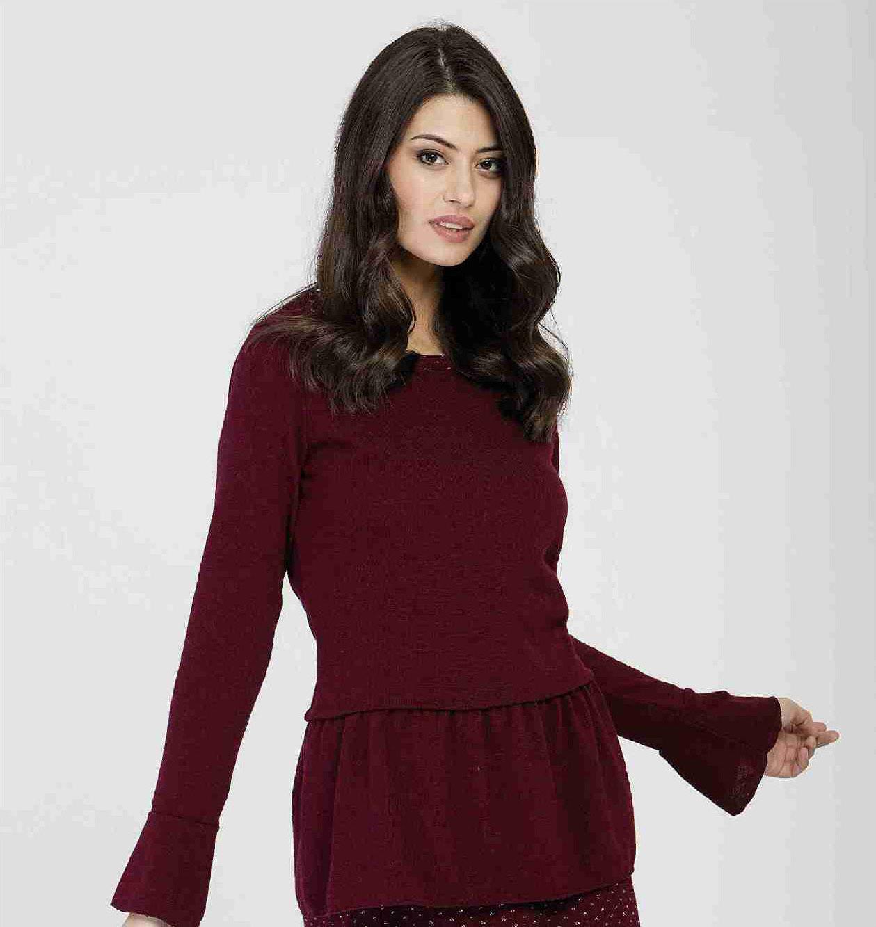 Maloka: Soft Ruffles Wool Tricot Sweater (Few Left!) MK_OTKA_N
