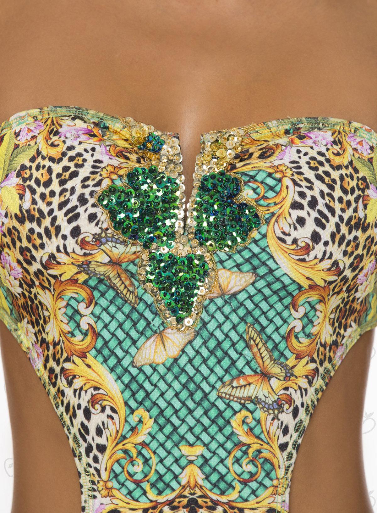 Paradizia Swimwear: Emerald Crystals Jaguar Cutout Monokini
