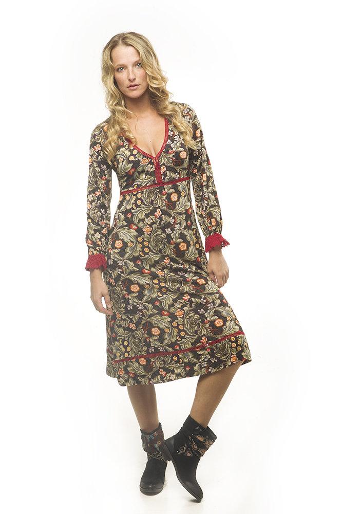 Savage Culture: Olive Tree Cherry Fringe Midi Dress Tunissa II SAVAGE_33122