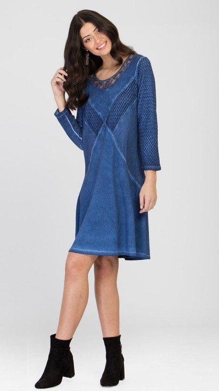 Maloka: Blue Jeans Brushed Cotton Shift Dress (1 Left!) MK_TAYCE_N