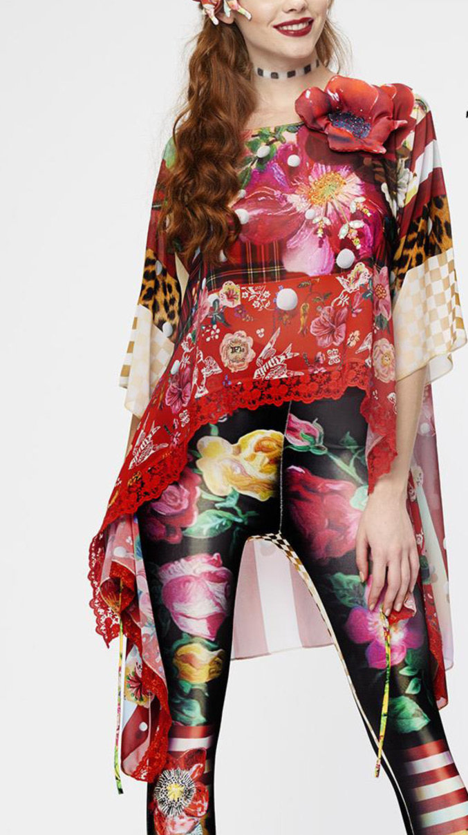 IPNG: Carnation Cut Out Asymmetrical Illusion Long Tunic SOLD OUT IPNG_CFTU82