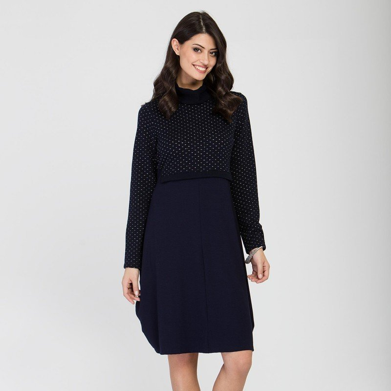 Maloka: Inverted Rose Bud Wool Midi Dress (1 Left in Blue Marine!)