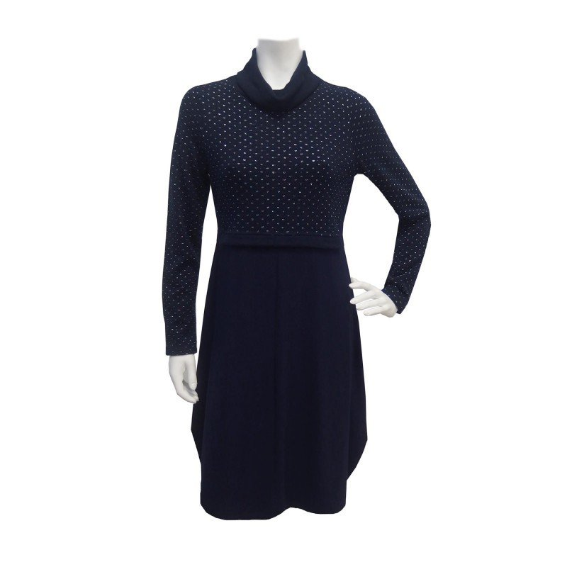 Maloka: Inverted Rose Bud Wool Midi Dress (1 Left in Blue Marine!) MK_Oriel_N2