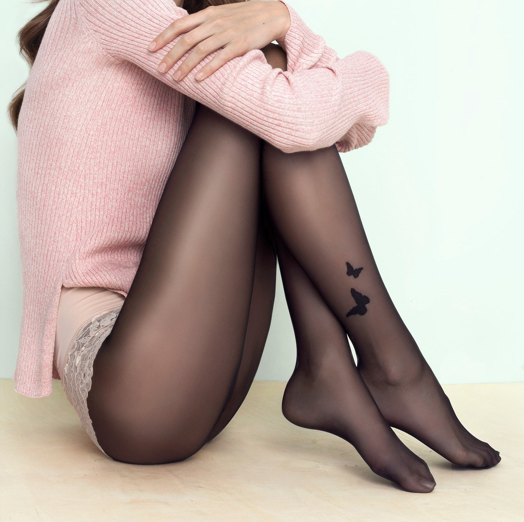 Fiore: Butterfly Ankle Tattoo Transparent Tights SOLD OUT FIO_BUTTERFLY
