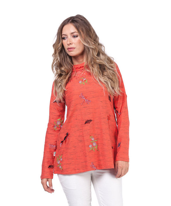 Savage Culture: Pink Orange Dragon Fly Fit & Flare Sweater Tunic Cecile SAVAGE_33064
