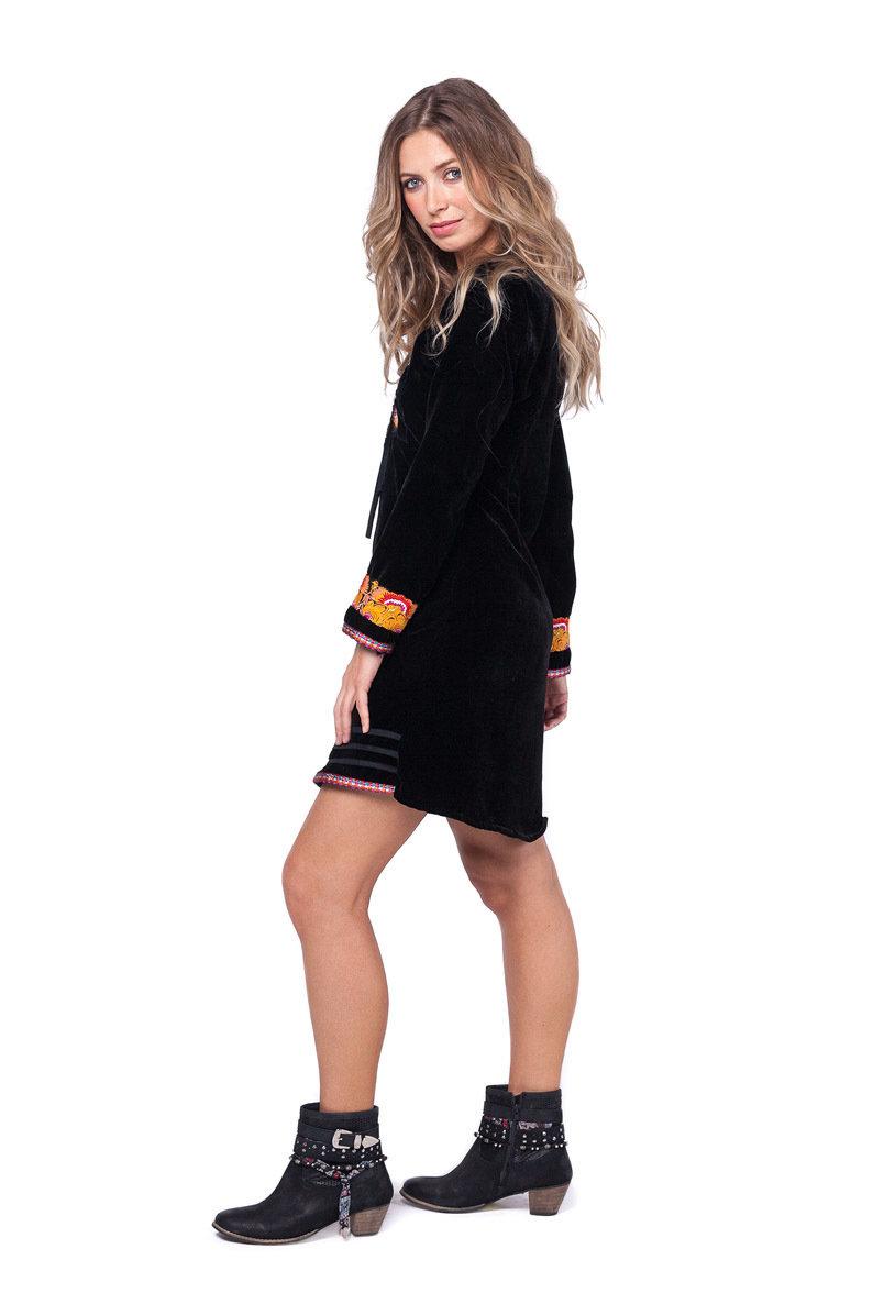 Savage Culture: Pink Pumpkin Embroidered Black Velvet Boho Dress Sandra