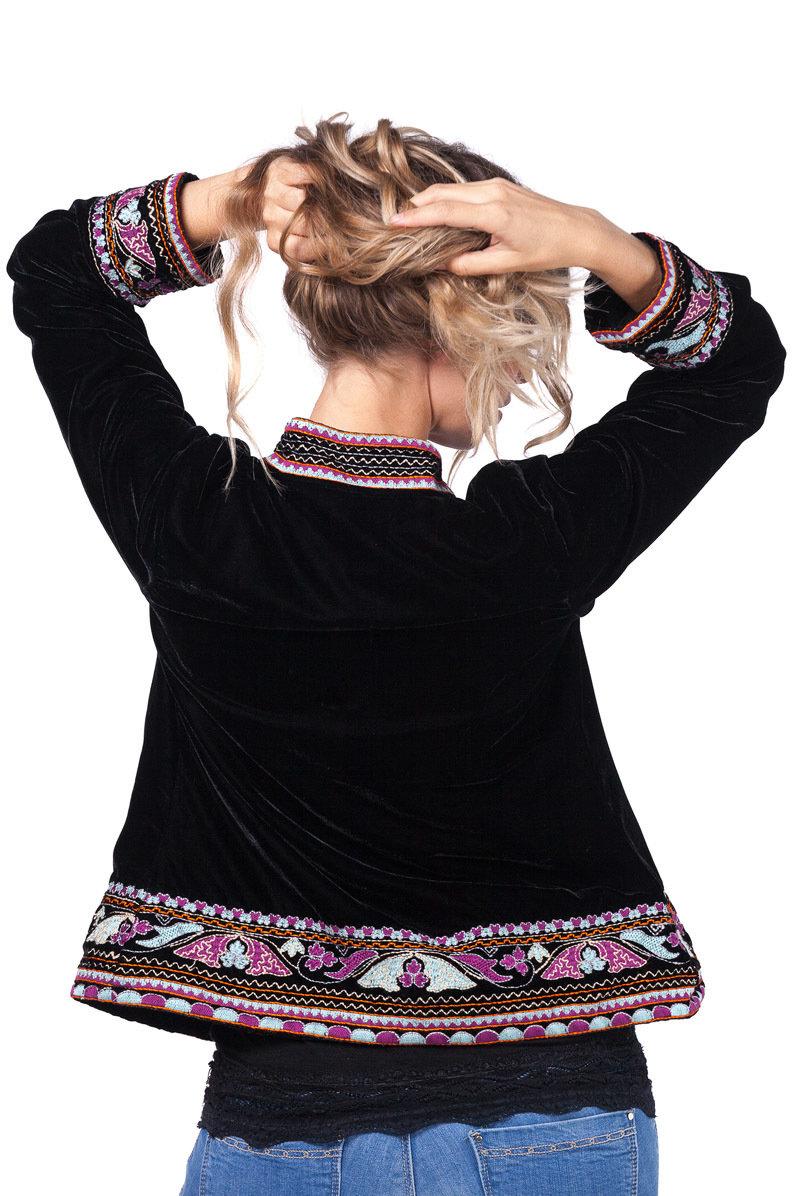 Savage Culture: Purple Pink Lotus Embroidered Short Jacket Rhania