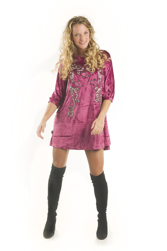 Savage Culture: Purple Orchid Velvety Finish Short Dress/Tunic Doris