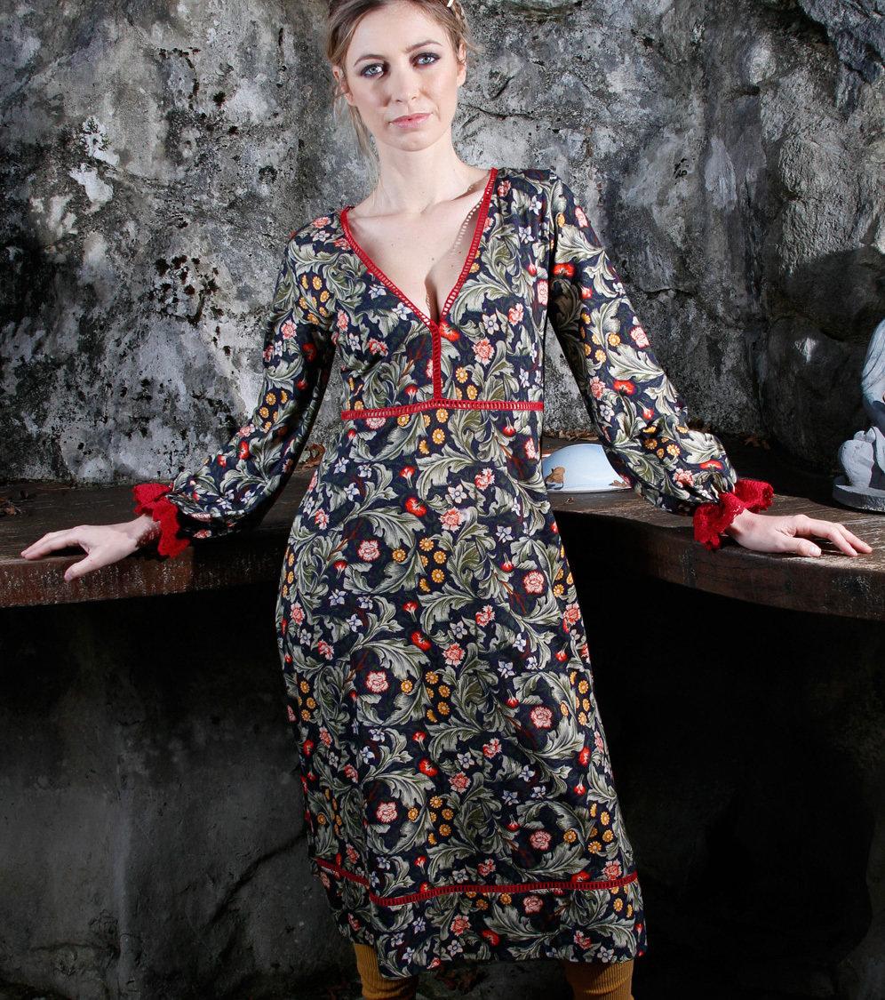 Savage Culture: Olive Tree Cherry Fringe Midi Dress Tunissa II