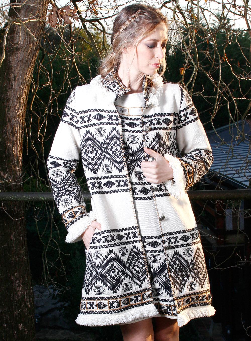 Savage Culture: Pearl Fringe Long Coat Lily SAVAGE_33201