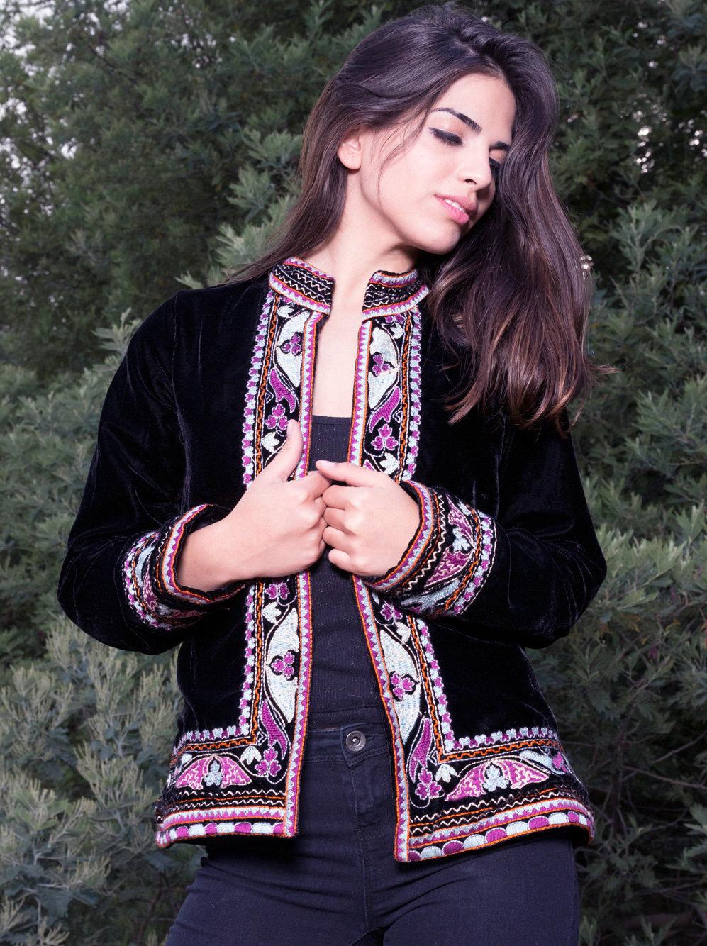 Savage Culture: Purple Pink Lotus Embroidered Short Jacket Rhania SAVAGE_33321