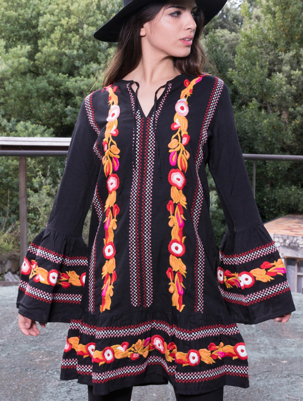 Savage Culture: Pink Pumpkin Flowers Embroidered Boho Dress Sara