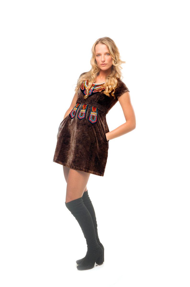 Savage Culture: Velvet Truffle Fit & Flare Mini Dress/Tunic Antika