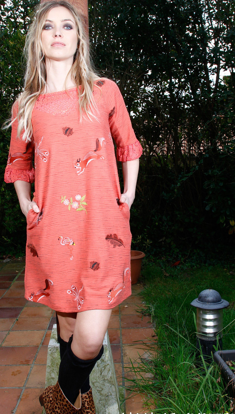 Savage Culture: Pink Orange Dragon Fly Fit & Flare Dress Cecile SAVAGE_33060