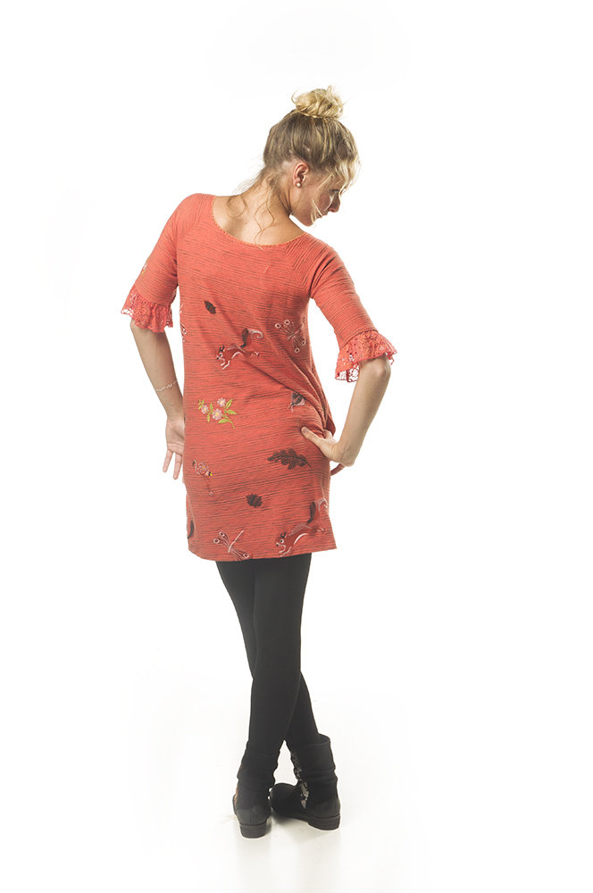 Savage Culture: Pink Orange Dragon Fly Fit & Flare Dress Cecile