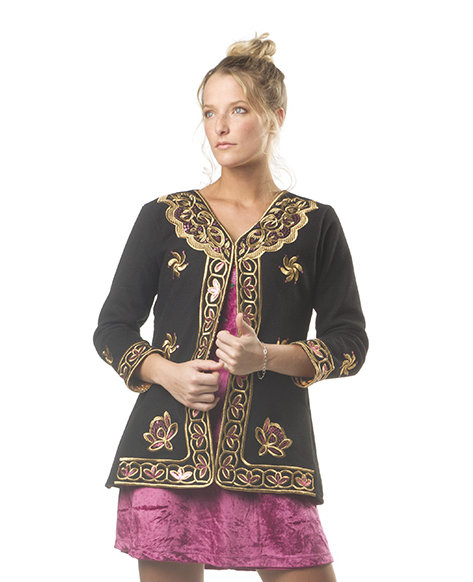 Savage Culture: Pink Lotus Embroidered Wool Jacket Sandra SAVAGE_33340