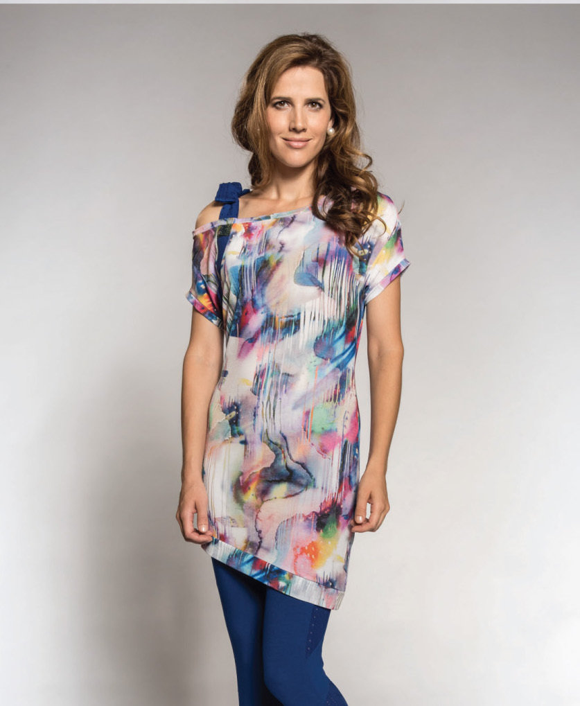 Myco Anna: Asymmetrical Watercolor Cold Bow Shoulder Tunic (1 Left!) MARGUERITE_C2_N