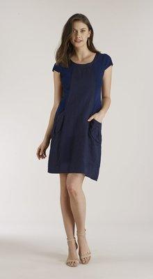 71c408fe7e3 Luna Luz  Ribbed Linen   Cotton Capped Sleeve Dress (Ships Immed