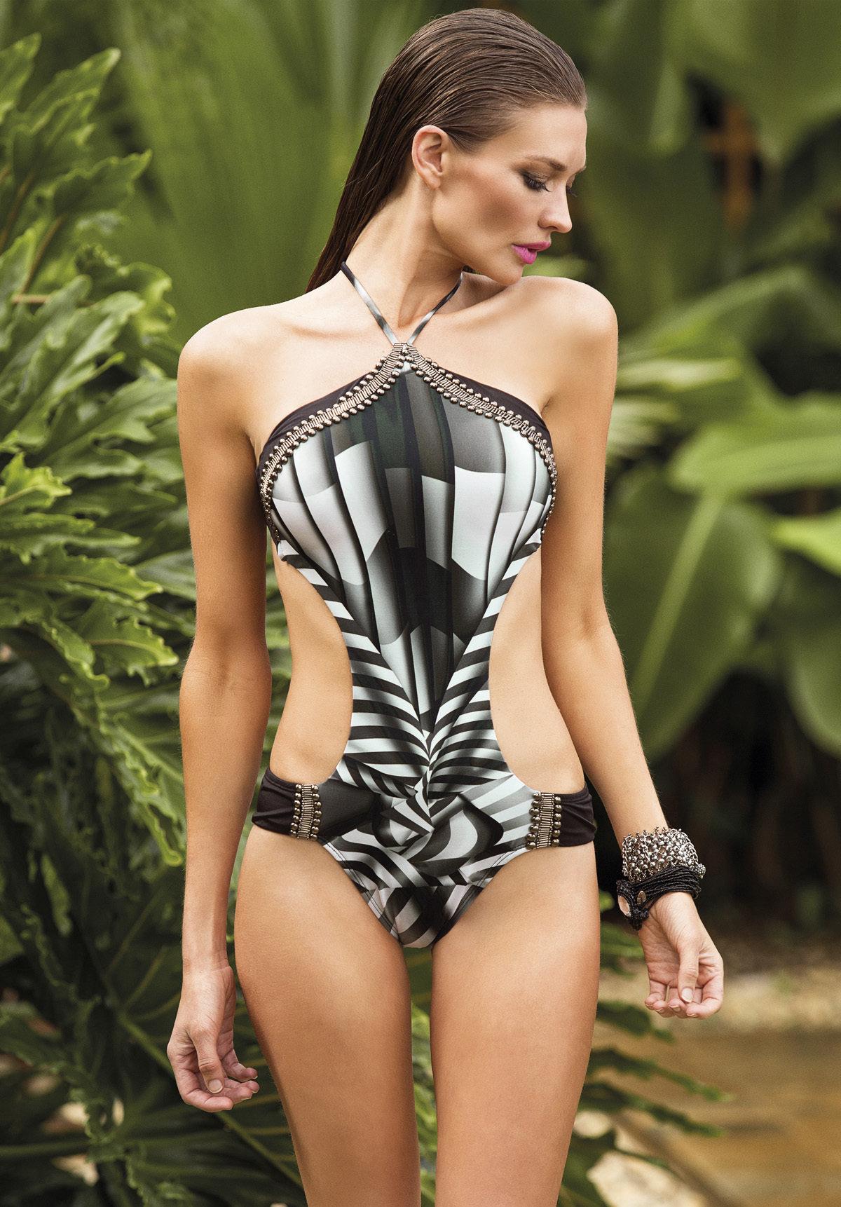 Paradizia Swimwear: Black Onyx Cutout One-Piece Swimsuit PARAD_SOHO