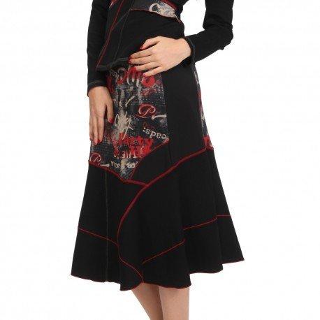S'Quise Paris: Lipstick Letter Patchwork Midi Skirt SQ_6103