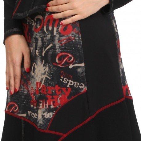 S'Quise Paris: Lipstick Letter Patchwork Midi Skirt