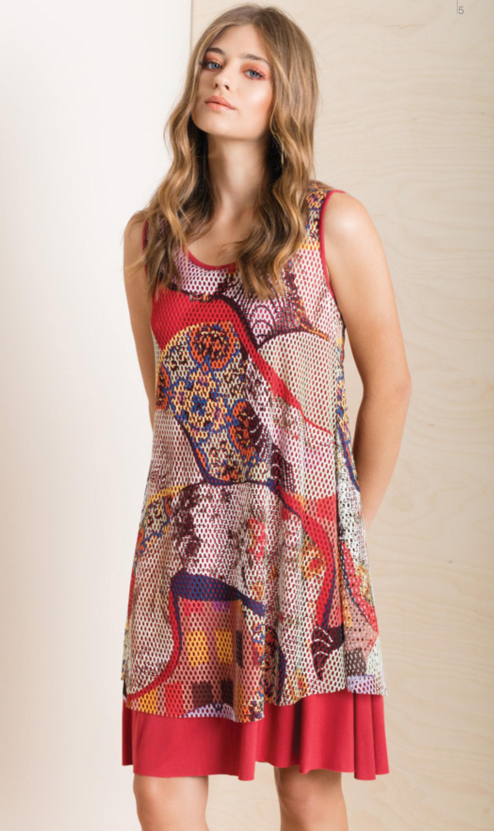 Maloka: Puzzle Pieces Abstract Art Midi Dress (2 Left!) MK_INAYA