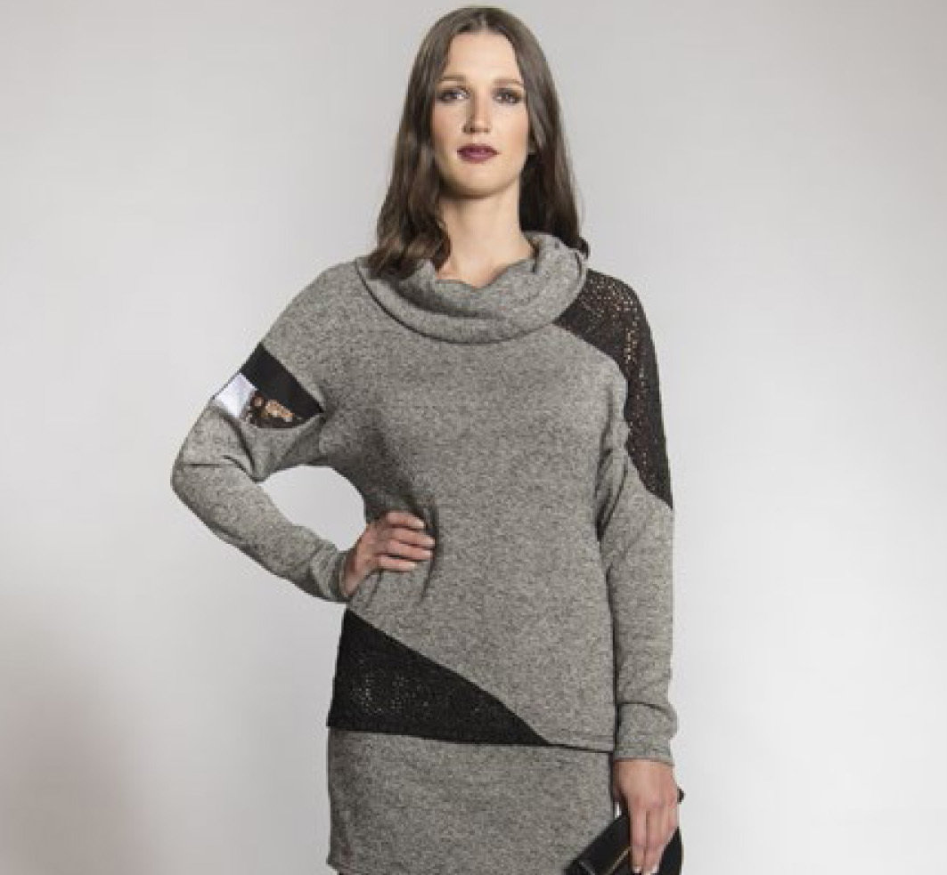 Myco Anna: Eco-Cotton Asymmetrical Patchwork Sweater MA_CHANDAIL