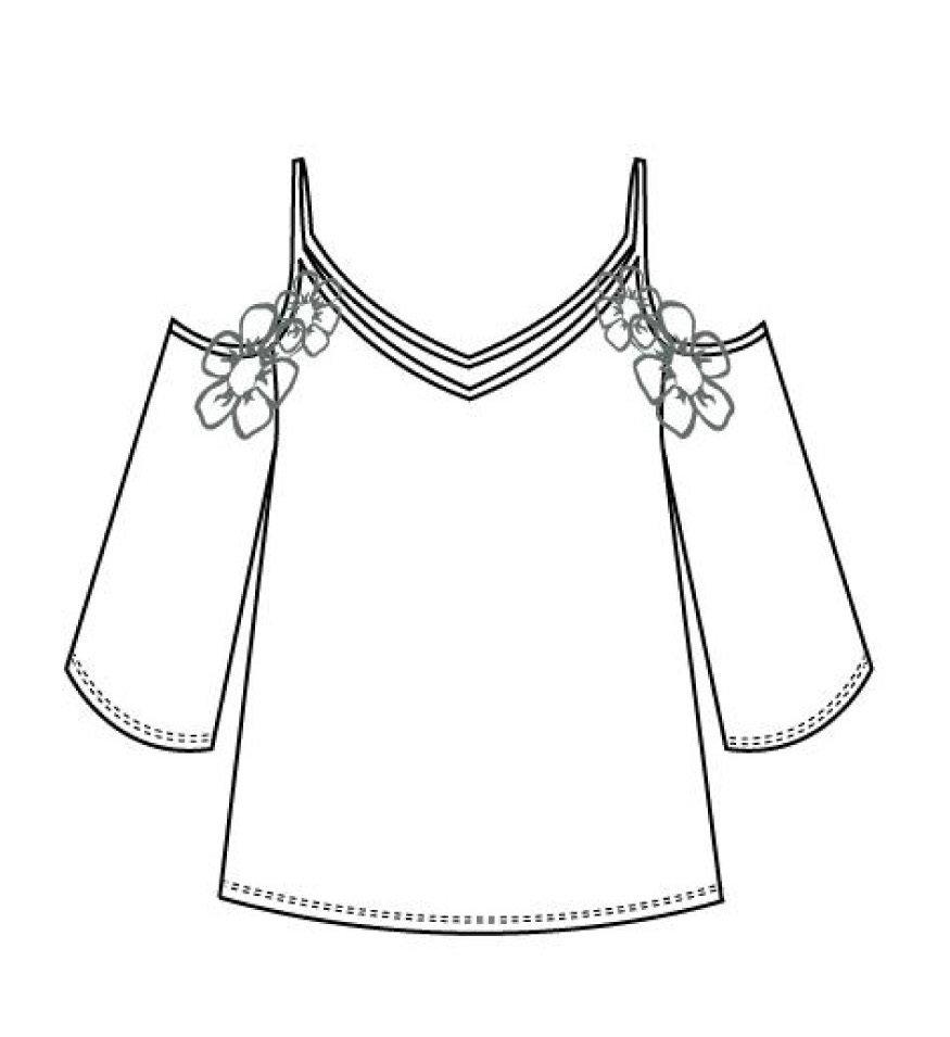 Maloka: Soft Petals Asymmetrical Cold Shoulder Tunic (More Colors, Few Left!)