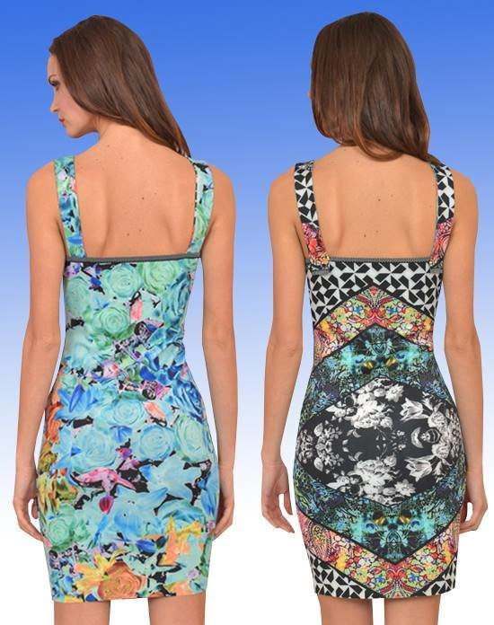 Eroke Italy: Orange Rose Asymmetrical Sheath Dress (Reversible: 2 Dresses in 1!)