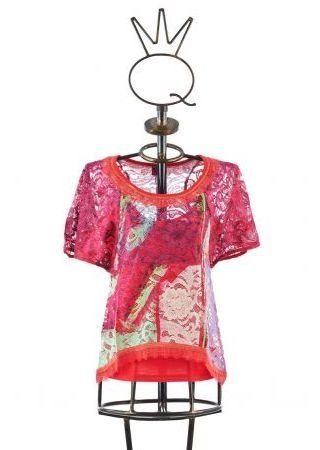 Save The Queen: Floral Lace Cotton Flared Tunic STQ_6765_N1