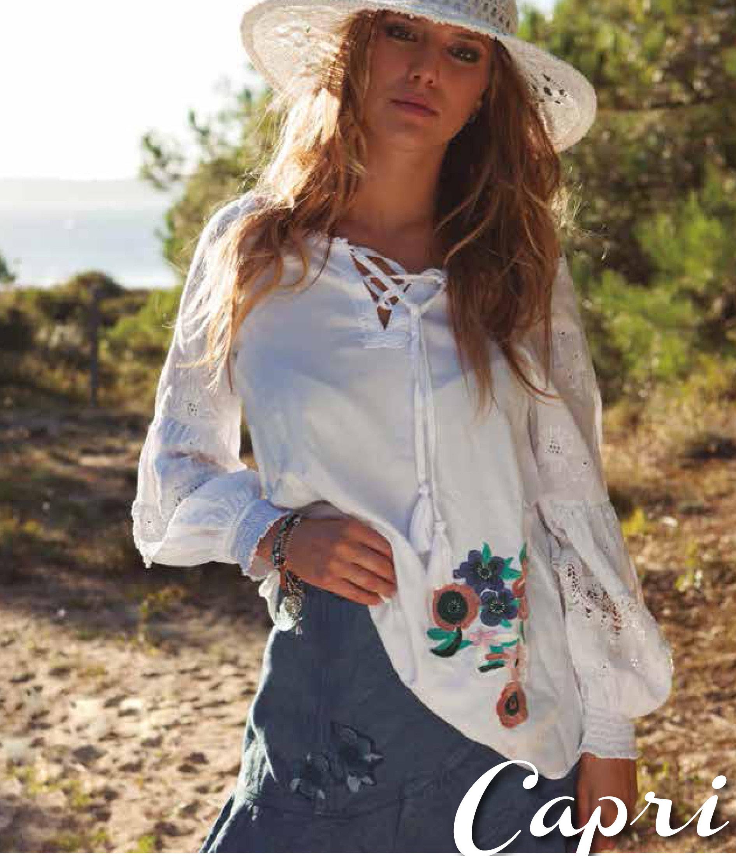 Savage Culture: Rosette Patchwork Peasant Cotton Tunic Capri SAVAGE_34031