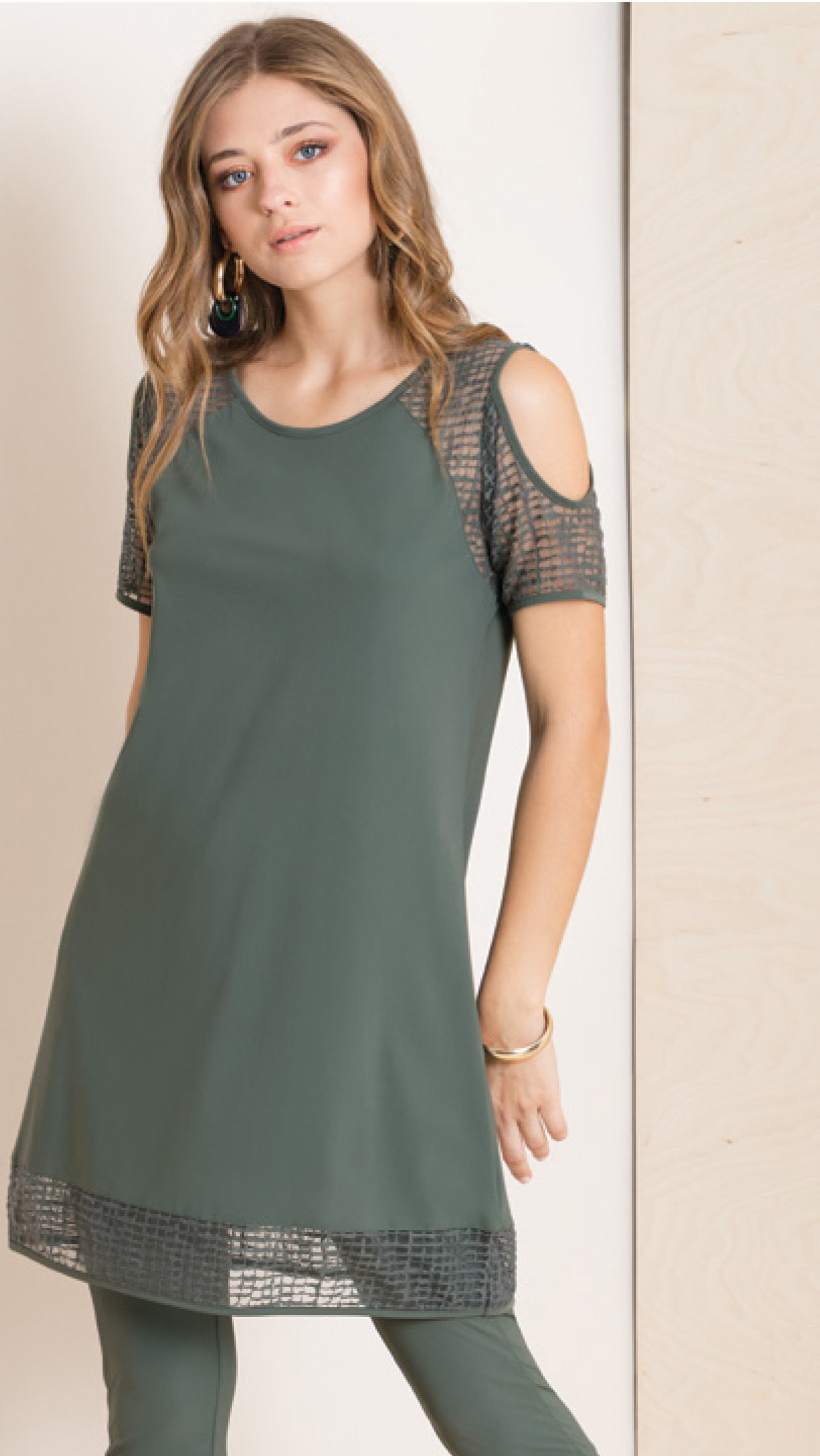 Maloka: Martini Olive Cold Shoulder Long Tunic (More Colors!) MK_KAWA