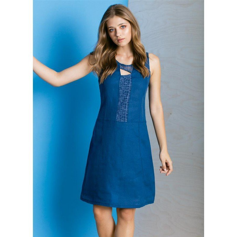 Maloka: Blue Crystal Bodice Linen Dress (Few Left!)