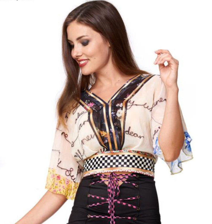 IPNG: Blooming Patchwork Inscripted Illusion Kimono Chiffon Crop Top (1 Left, Ship Immed!) IPNG_TTBSM-060_N