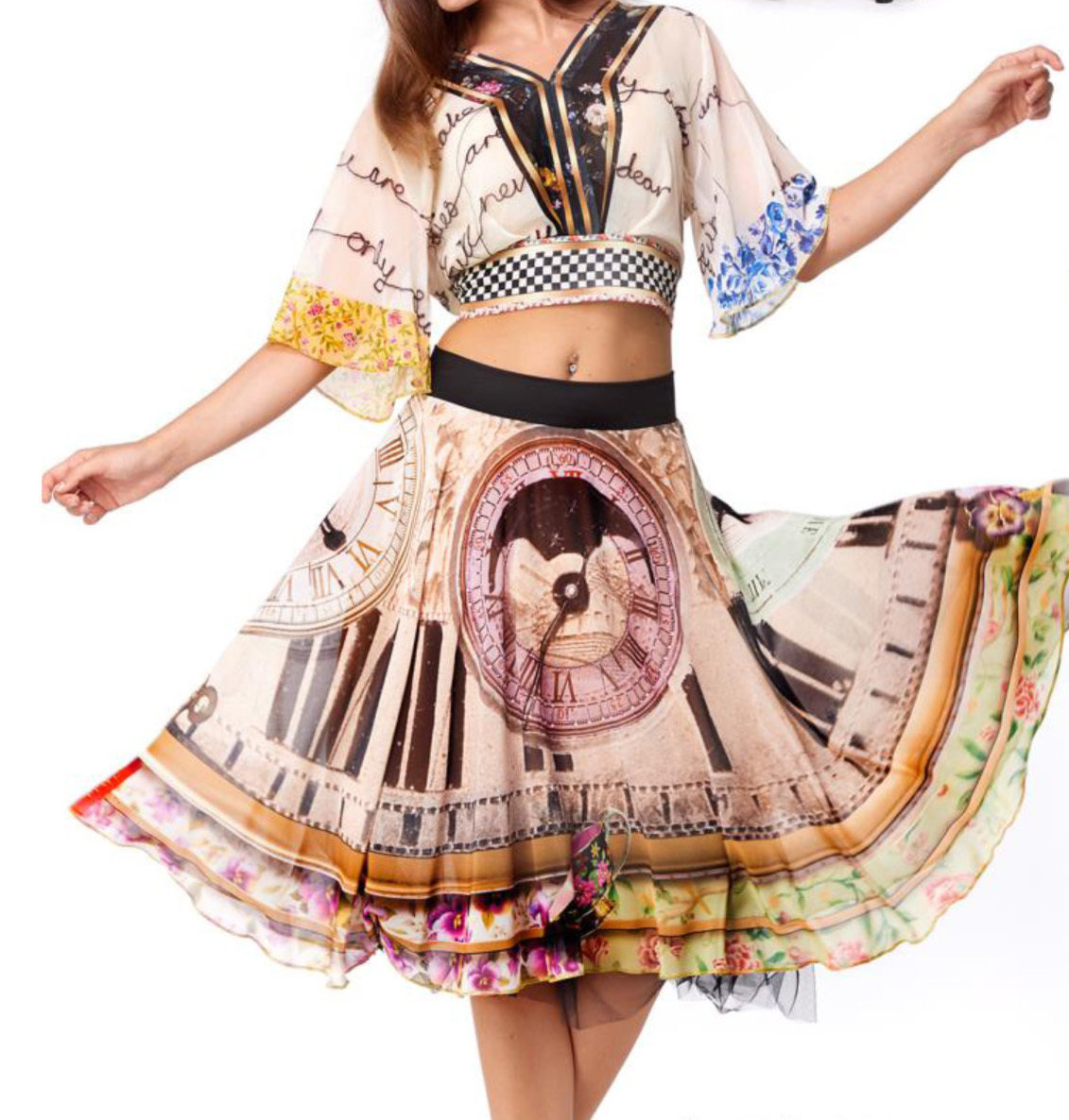 IPNG: Blooming Patchwork Inscripted Illusion Kimono Chiffon Crop Top (1 Left, Ship Immed!)