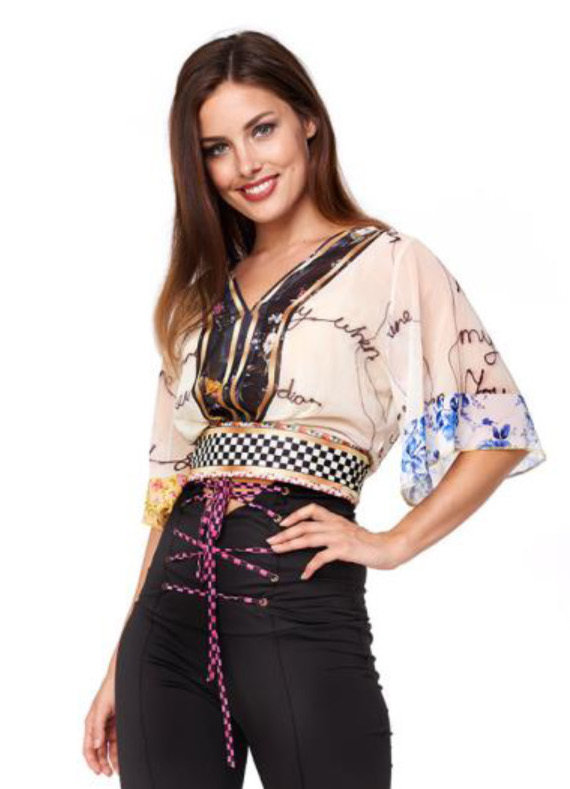 IPNG: Blooming Patchwork Inscripted Illusion Kimono Chiffon Crop Top (Some Ship Immed!)