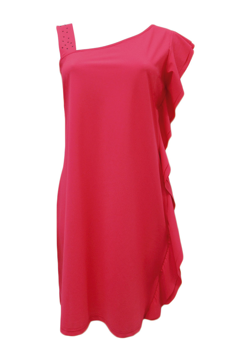 Maloka: Asymmetrical Hanging Ruffles Midi Dress (Many Colors!)