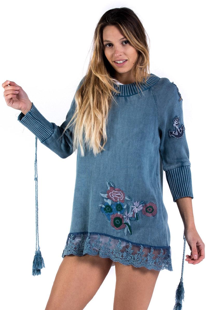 Savage Culture: Denim Roses Of Capri Cotton Tunic SAVAGE_34027