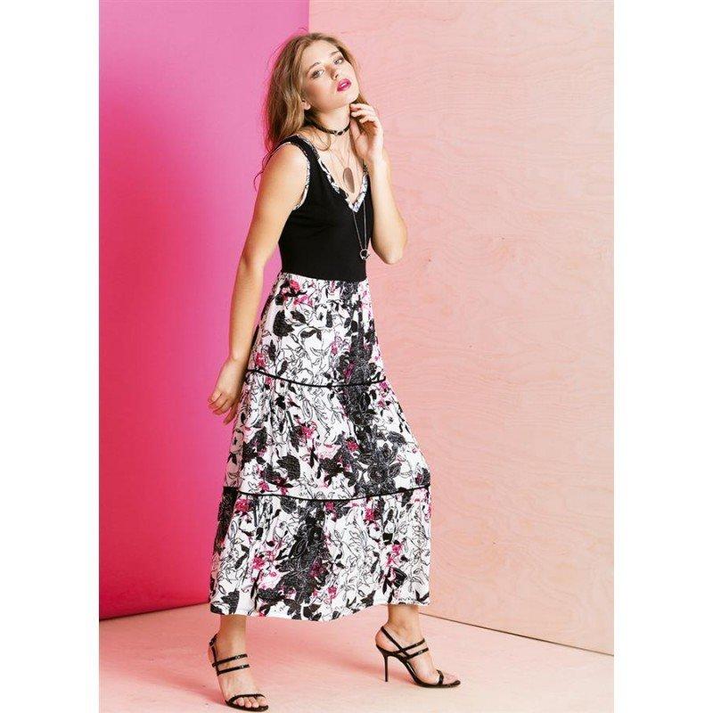 Maloka: Hot Pink Fantasy Colorblock Maxi Dress MK_GABIE