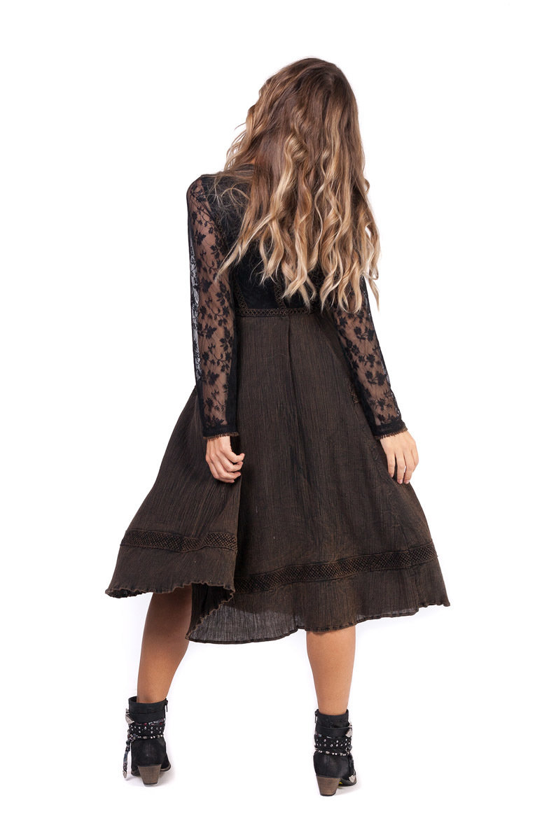 Savage Culture: Bittersweet Embroidered Truffle Midi Dress Antika