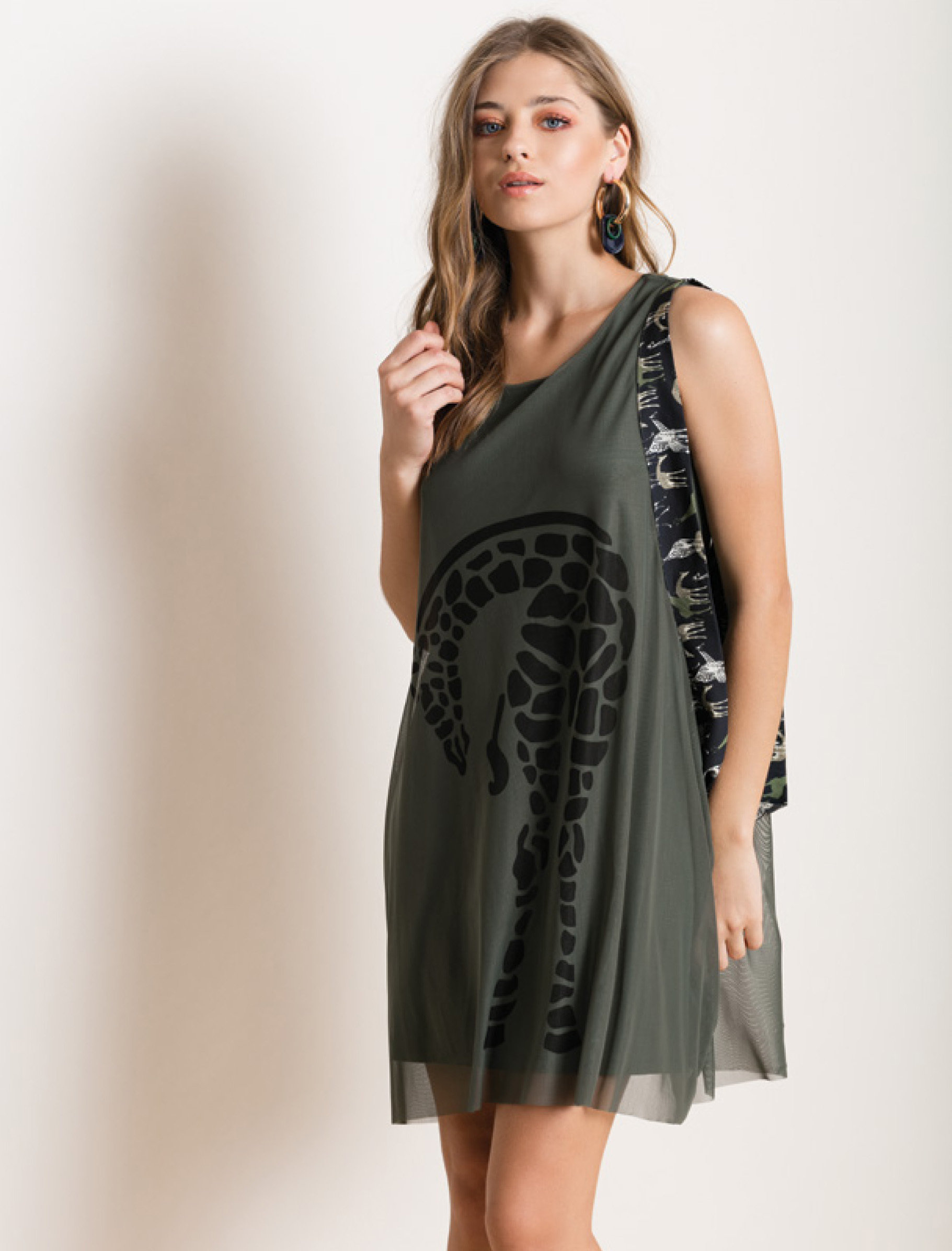Maloka: Very Sexy Olive Martini Imprints Babydoll Dress/Tunic (Few Left!) MK_GOIA