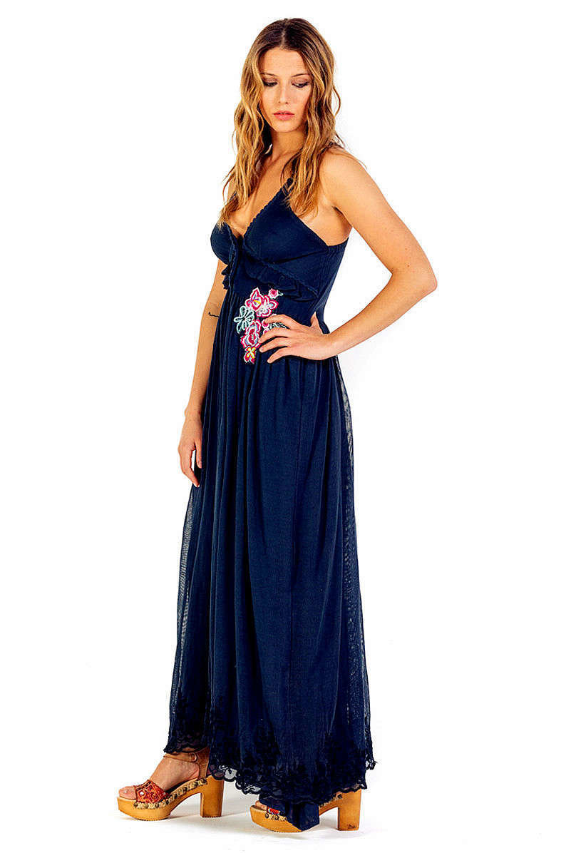 Savage Culture: Sexy Sweetheart Arabesque Cotton Maxi Dress Positano